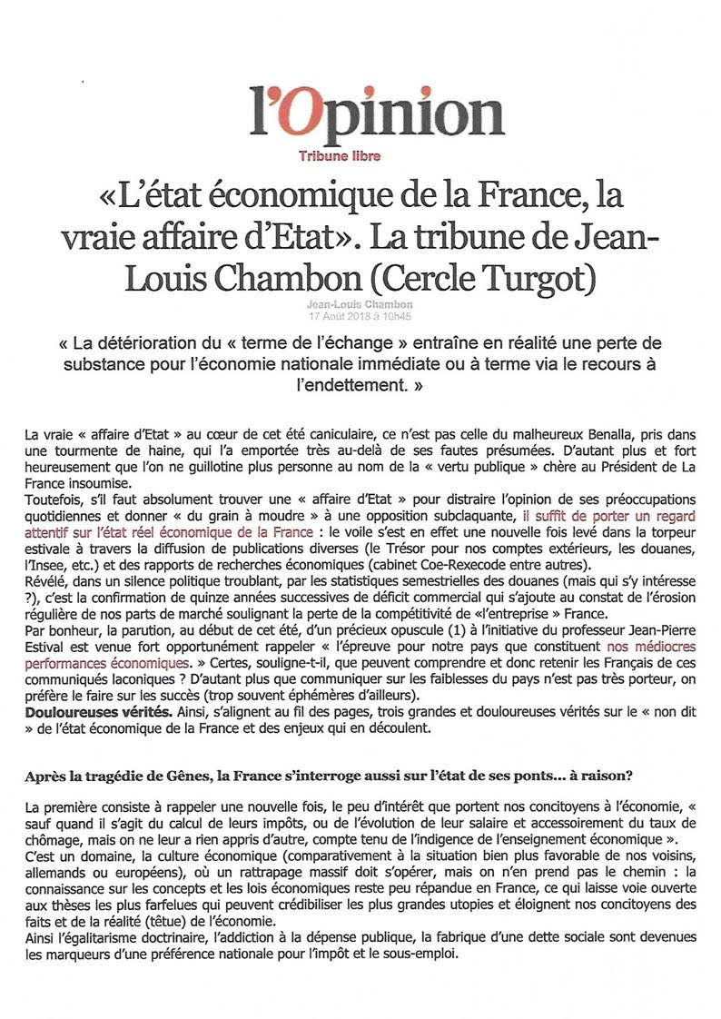 Opinion JLC Etat economique France